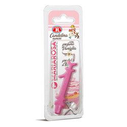 Mariarosa - Mariarosa Candelina nr 1 color rosa al profumo di vaniglia per festa di compleanno