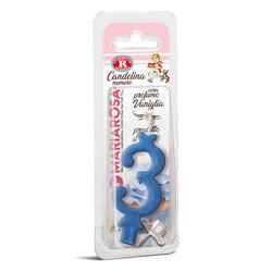 Mariarosa - Mariarosa Candelina nr 3 color azzurro al profumo di vaniglia per festa di compleanno