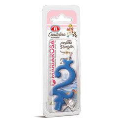 Mariarosa - Mariarosa Candelina nr 2 color azzurro al profumo di vaniglia per festa di compleanno
