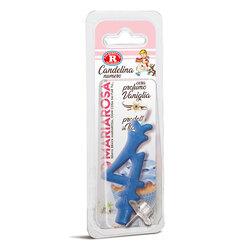 Mariarosa - Mariarosa Candelina nr 4 color azzurro al profumo di vaniglia per festa di compleanno