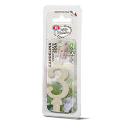 Rebecchi - Rebecchi Candelina vegetale di soia nr 3 color bianco per festa di compleanno