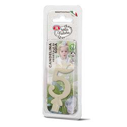 Rebecchi - Rebecchi Candelina vegetale di soia nr 5 color bianco per festa di compleanno