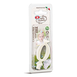 Rebecchi - Rebecchi Candelina vegetale di soia nr 0 color bianco per festa di compleanno