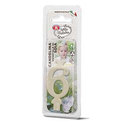 Rebecchi - Rebecchi Candelina vegetale di soia nr 6 color bianco per festa di compleanno